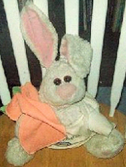 90's Large White Rabbit Holding a Carrot Orange Blankie with Big Feet & Magnets in Ears