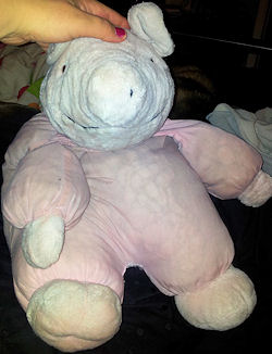 , Searching – 90's White Furry Pig with Pink Cloth Body
