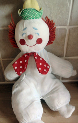 90's Eden White Velour Clown in Red Polka Dots Bow Tie & Striped Hat