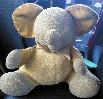 90's Yellow, White, and Blue Terry Elephant with Polka Dot Ears