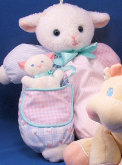 Eden White Lamb Wearing Pink & Blue Stripes & Checks Outfit with Attached Squeaker Kitten