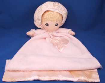 Large Applause Precious Moments Pink Gown Style Doll Blankie Wearing a Pink Print Bonnet