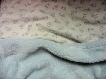 Absorba Baby Blanket with Blue Fur Side & Animal Print Side