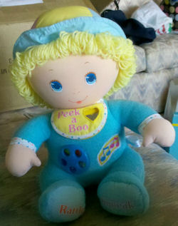 , FOUND – AMTOY American Greetings 80's LARGE STUFFED BLUE BABY ACTIVITY DOLL Dial in Tummy