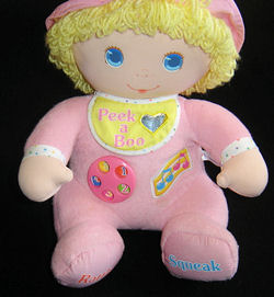 80's AMTOY Large Pink Doll with a Dial on the Tummy with Squeak & Rattle on the Feet