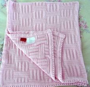 amy coe Pink Chenille Waffle Baby Blanket
