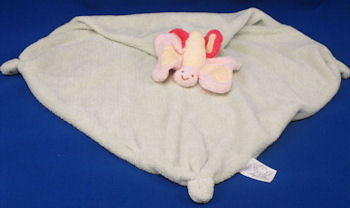 Angel Dear 2005 Pink & Yellow Butterfly Green Velour Blankie with Knotted Corners