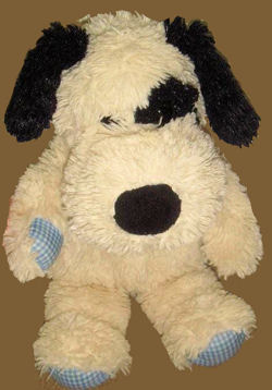 Animal Adventure White and Black Dog with Blue Gingham Checked Bow, Paws, and Feet