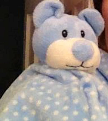 , Searching – Breathe Easy Baby Blue Bear Blankie with White Polka Dots
