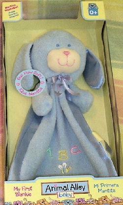 Animal Alley Baby Blue Dog Blankie with ABC & a Butterfly