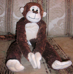 22 inch Animal Alley Chocolate Brown & Cream Monkey with Velcro Hands