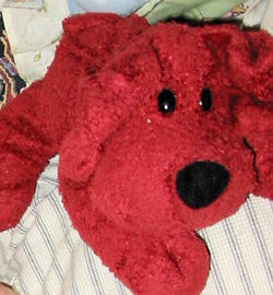 Animal Alley Maroon Red Chenille Dog