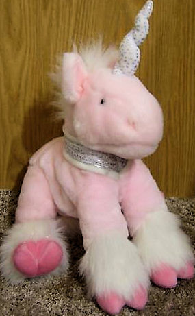 2000 Animal Alley Pink Unicorn with FUR & Glitter Stars