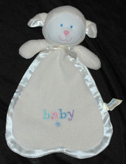 Animal Alley White Lamb Blankie with Baby Embroidered on it