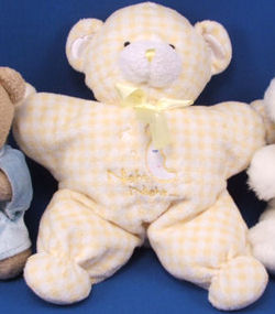 Animal Alley Night Night Yellow & White Plaid Star Shaped Bear