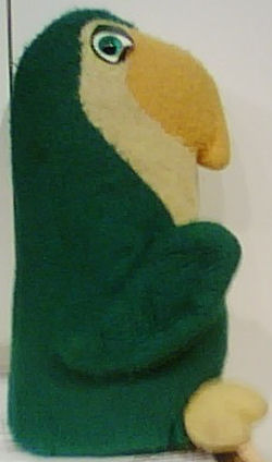 80's Animal Fair 12 inch Green Parrot with Orange Beak