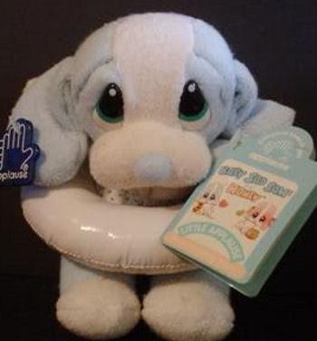 90's Baby Honey Blue Dog Wearing a Bikini with an Inner Tube