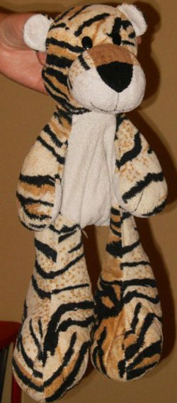 2005 Asda Large Cream & Black Striped Tiger with Big Feet & Tan Foot Pads