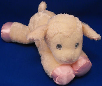 Aurora Baby Floppy White Lamb with Pink Satin Ears & Feet