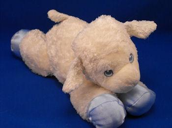Aurora Baby Floppy White Lamb Blue Satin Feet