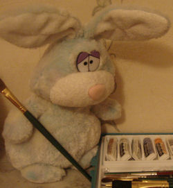 2006 Aurora World Multi-color Blue & White Rabbit with Crazy Eyes