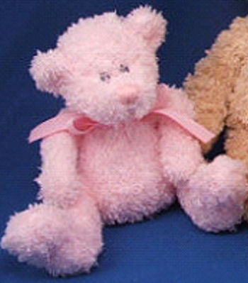 Baby Adventure Small Chenille Seated Bear with Pink Grosgrain Bow