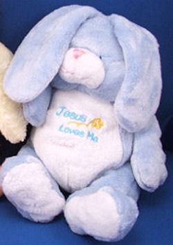 Baby Connection Blue & White Velour Jesus Loves Me Rabbit