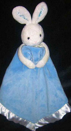 Baby Connection White Rabbit Head & Arms Holding a Blue Blankie