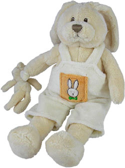 Baby GUND Rabbit in Overalls with Baby Bunny Musical Pull