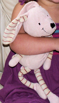 , Searching – 2006 BABYSTYLE PINK RABBIT with STRIPED EARS, ARMS, & LEGS