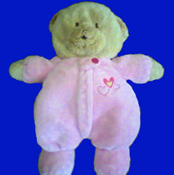 Carter's Brown Bear wearing a Pink Sleeper with Hearts