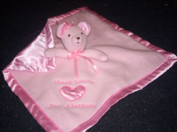 , FOUND – Carter's? THANK HEAVEN FOR LITTLE GIRLS PINK BEAR Gown Style BLANKIE with SQUEAKING HEAD