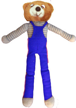 Brown Bear with Long Skinny Arms and Legs, wearing Blue Overalls and a Blue & White Shirt