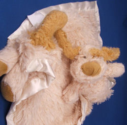 Large Beige Shaggy Chenille Dog Blankie with Head & Arms on one end and Bottom, Legs, and Tail on the other