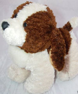90's or 2000's Best Made Toy Small Brown & White Chenille Dog