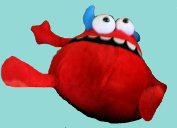 Best Made Toys Red Pear Shaped Monster with Blue Horns & Crazy Eyes