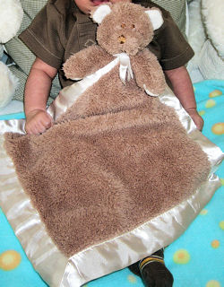 Blankets and Beyond Brown Bear Blankie with Beige Satin Binding