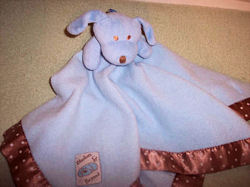 Blankets and Beyond Blue Dog Blankie with Brown Polka Dots Binding