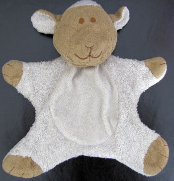 Blankets and Beyond Pancake style White Woolly Lamb with Brown Face and Hooves