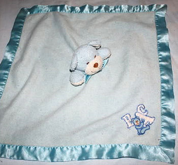 Blankets and Beyond Blue Blankie with Blue & White Bear Head