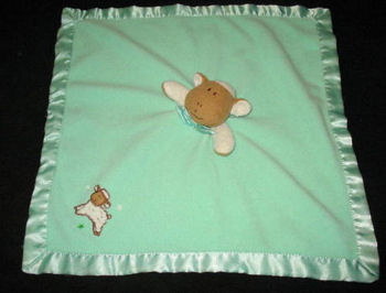 Blankets and Beyond Beige & White Lamb on a Green Blankie