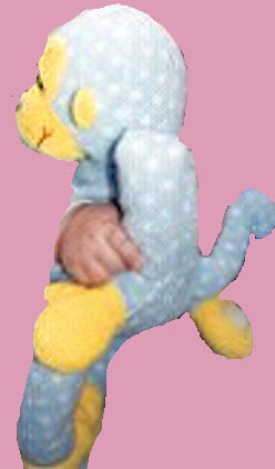 2003 Commonwealth Toy Blue Polka Dotted Monkey with Yellow Face and Velcro Hands