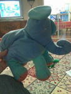 Blue Elephant with Green Ears and Legs