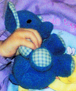 , DISCONTINUED – Eden?? DARK BLUE TERRY ELEPHANT with GINGHAM EARS & FEET