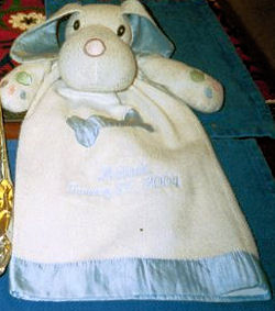 Lillian Vernon Blue & White Dog Gown Style Blankie With Blue Satin Bone