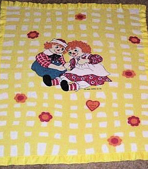 Yellow Gingham Thermal Raggedy Ann and Andy Blanket
