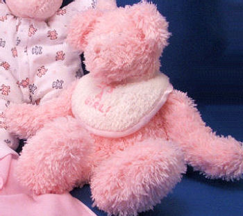 , Searching – BOYD'S PINK Chenille RATTLE BEAR – WHITE IT'S A GIRL! BIB