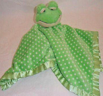 , Searching – Breathe Easy Baby GREEN & WHITE FROG BLANKIE