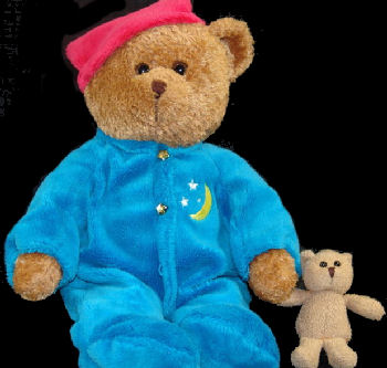 Brown Bear Wearing Blue Velour PJ's and Red Sleep Cap