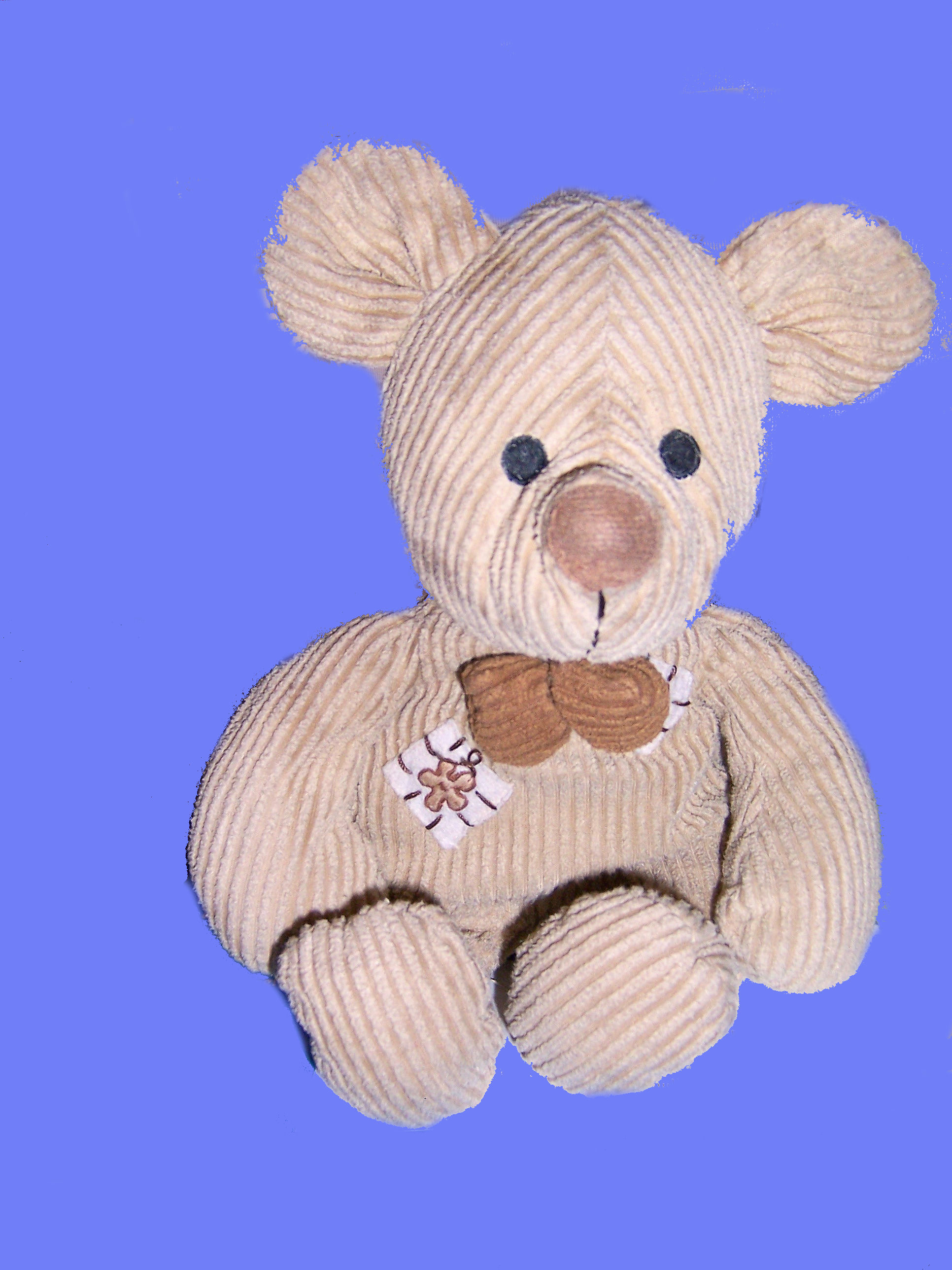 Light Brown Corduroy Mouse with Patches & Brown Bow Tie